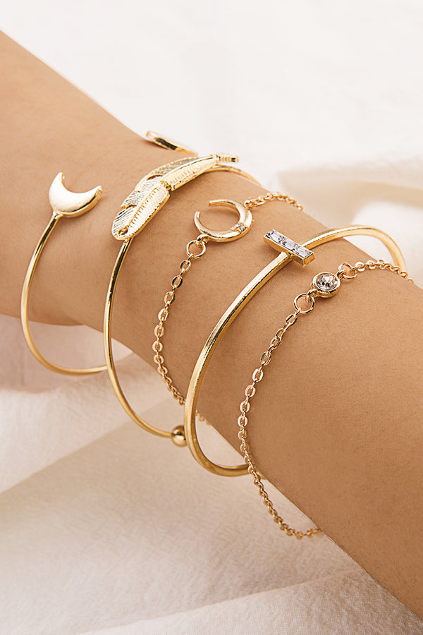Gold Leaf And Moon Bracelets