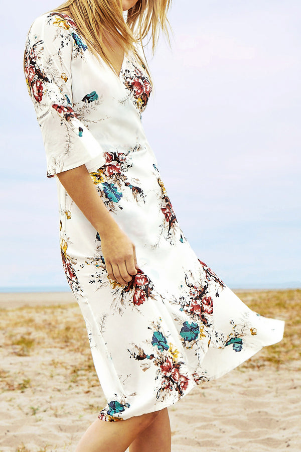 White Floral Print Cross Strap Waist Dress