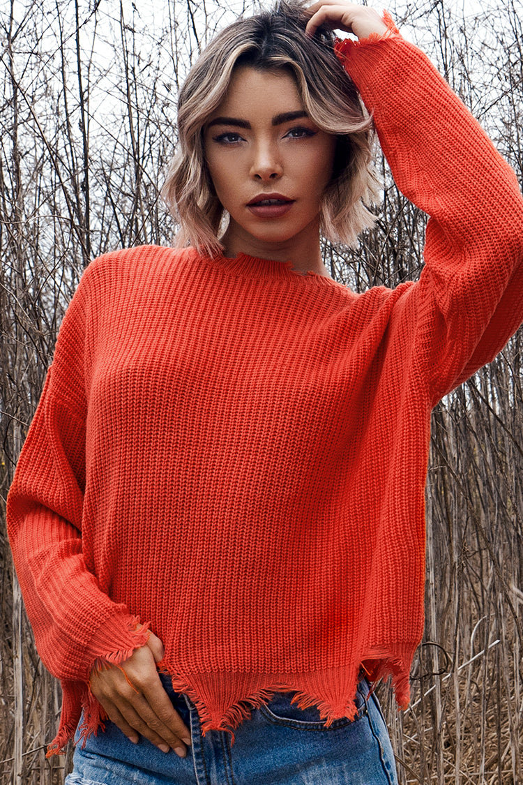 Red Orange Distressed Sweater