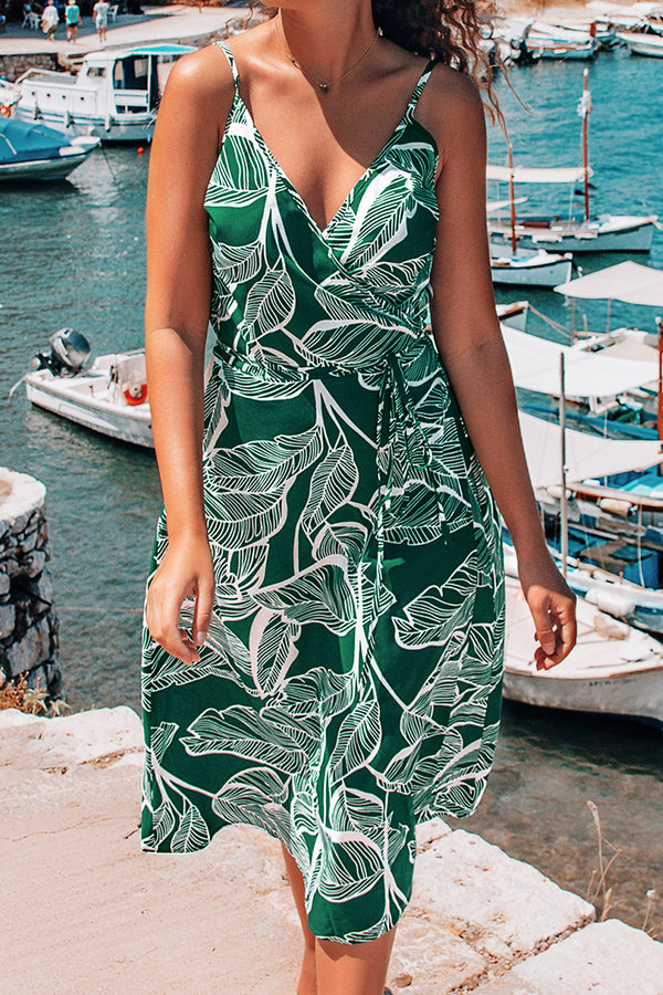 Teal Palm Print V-Neck Midi Dress