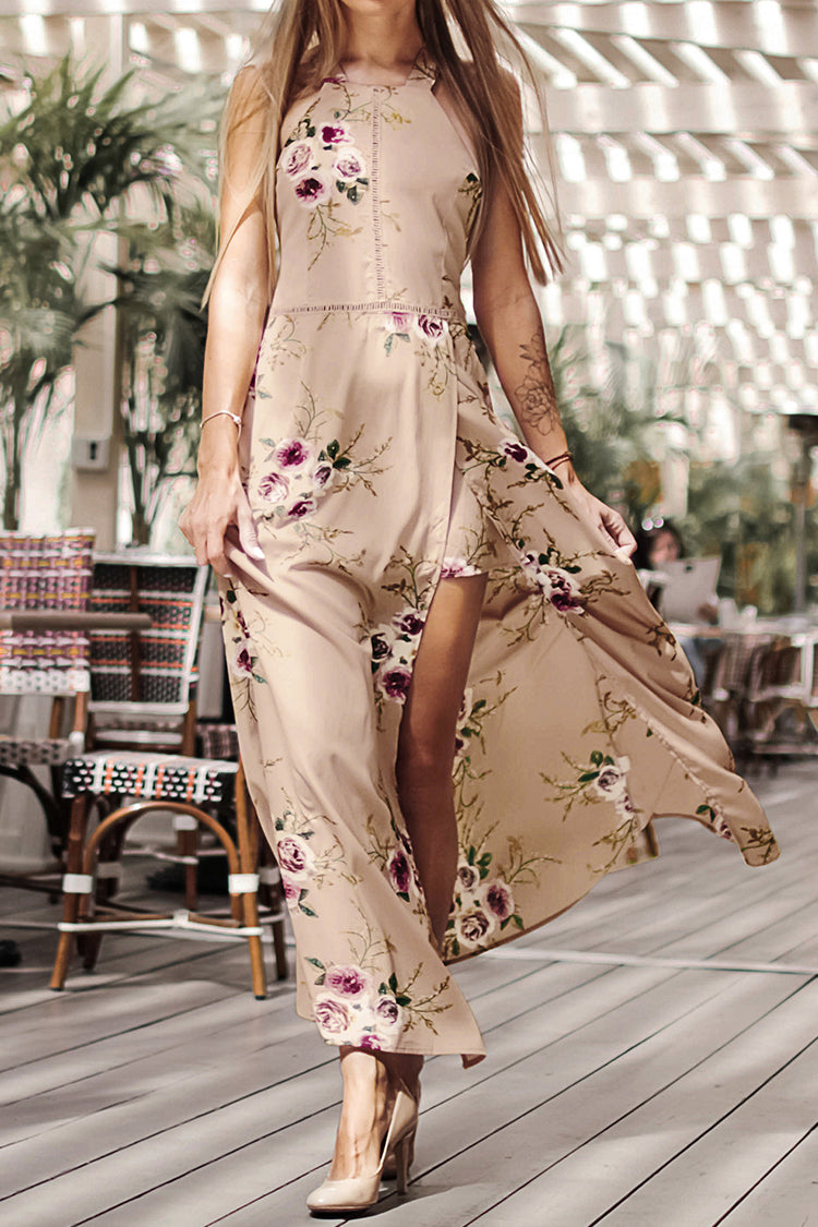 Image of Apricot Floral Print Backless Dress