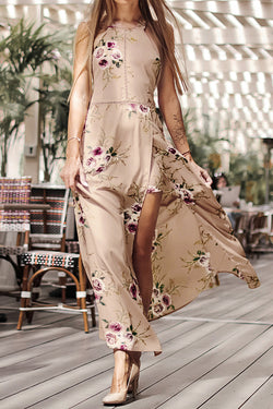 Apricot Floral Print Backless Dress