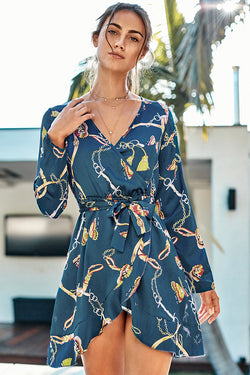Chain and Butterfly Print Mini Dress
