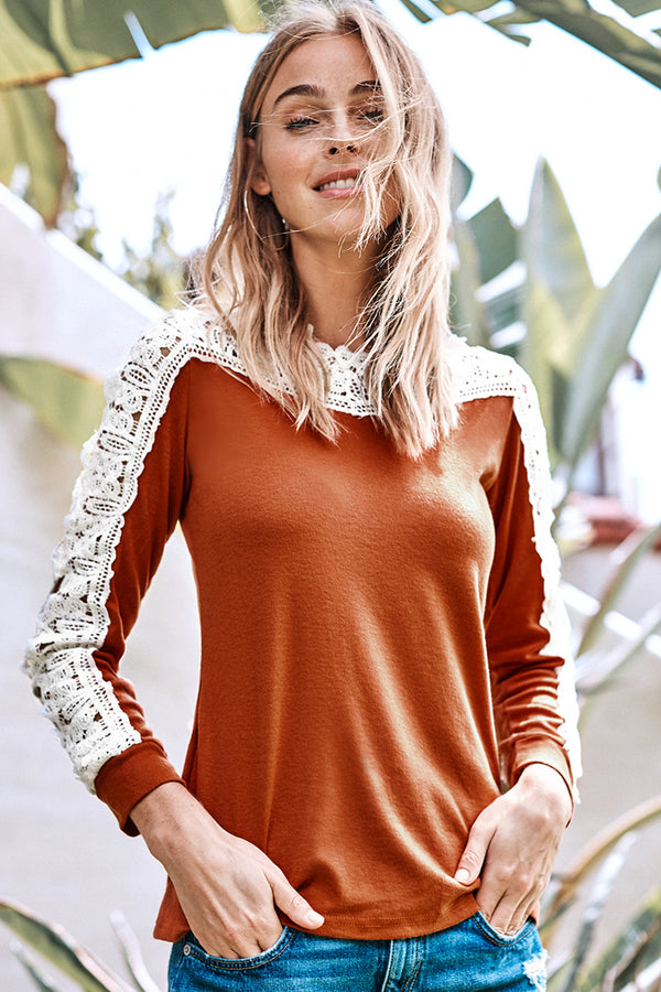 Orange and White Crochet Lace Sleeve Top