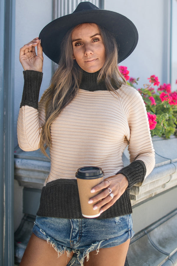 Grey and Ivory Turtleneck Sweater