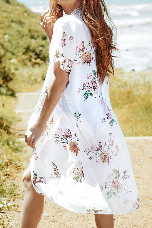 White Floral Print Short Sleeve Cover Up
