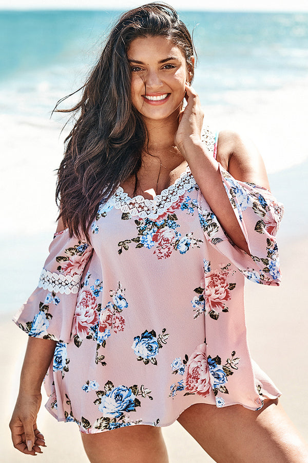 Floral Cold Shoulder Plus Size Cover Up