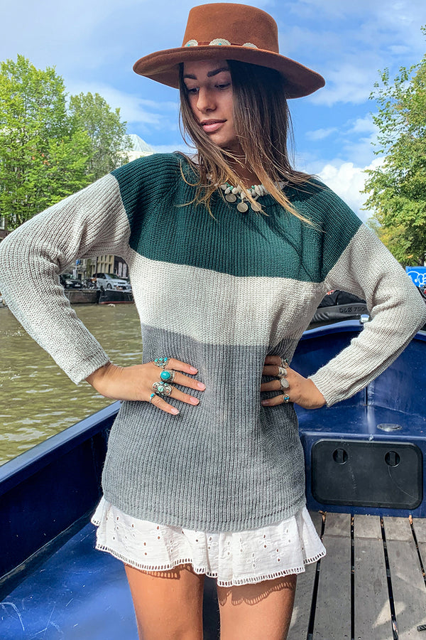 Colorblocked Long Sweater
