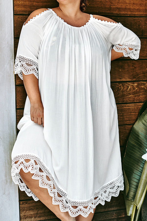 White Cold Shoulder Plus Size Cover Up