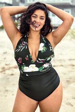 Floral Print Halter Plus Size One Piece Swimsuit
