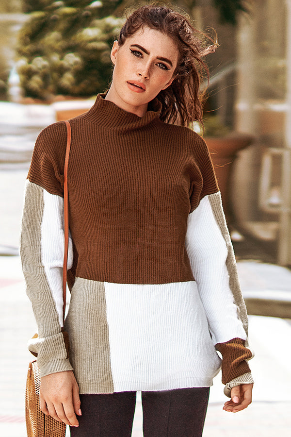 Colorblocked Turtleneck Sweater