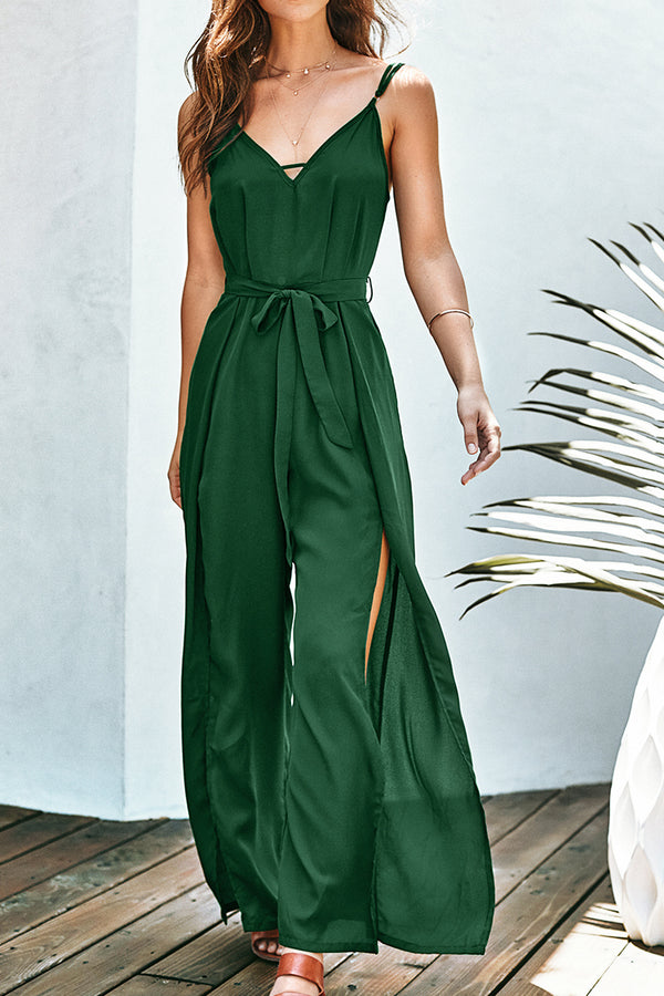 Green V-Neck Jumpsuit