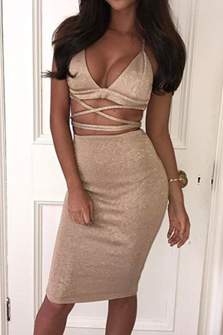 Sexy Golden Two Pieces Dress