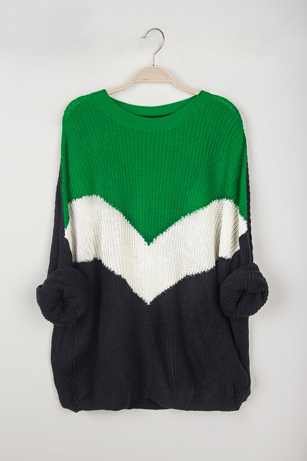 Navy, White and Green Colorblocked Sweater