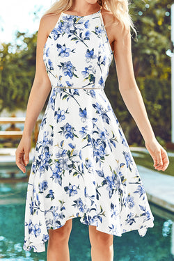 Blue Floral Sleeveless Dress