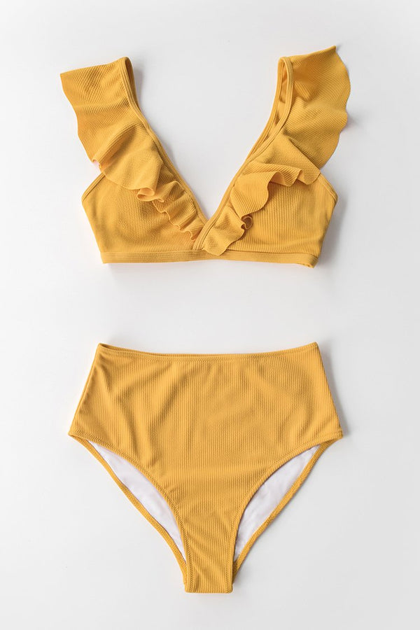 Yellow Ribbed High-Waisted Bikini