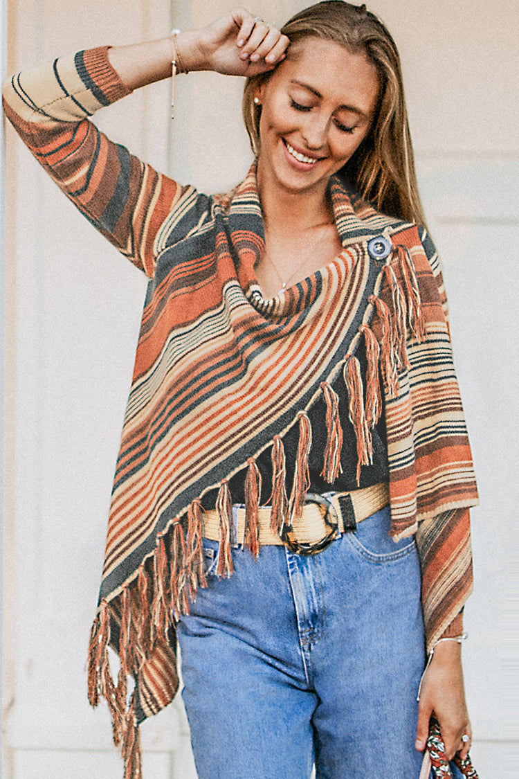 Image of Striped Tassel Sweater