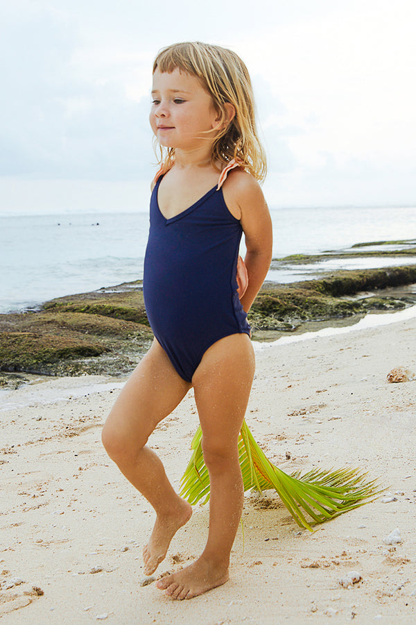 Navy Blue Ruffled One-piece Swimsuit for Toddler girls and girls