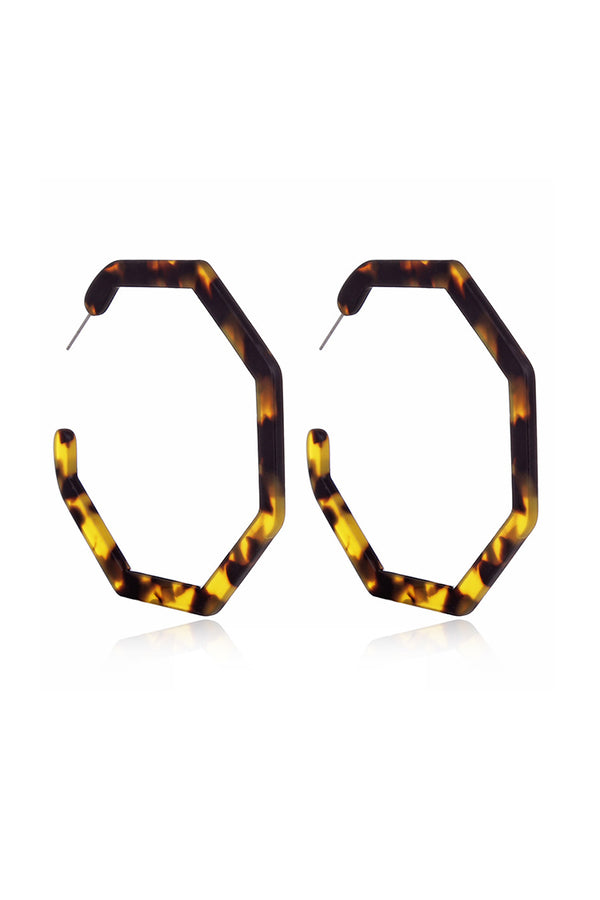 Tortoise Shell Octagonal Hoop Earrings