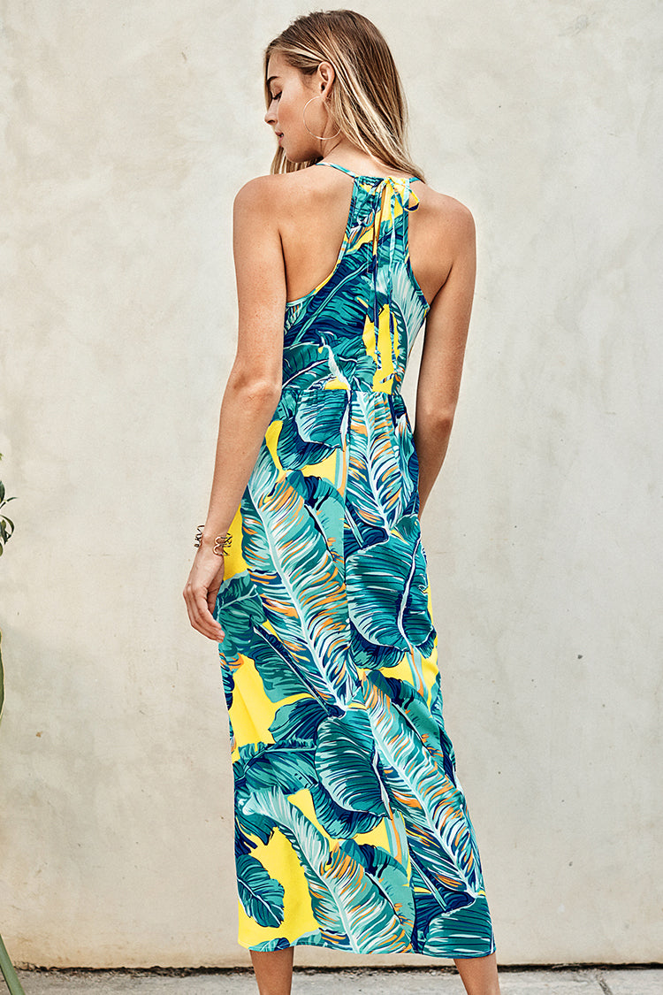 Blue and Yellow Palm Print Maxi Dress