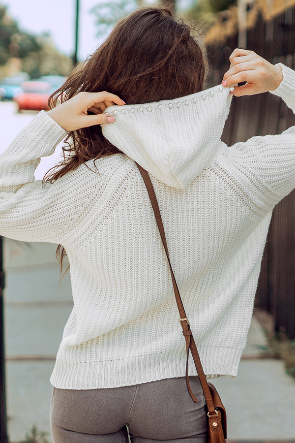 White Hooded Drawstring Sweater Top