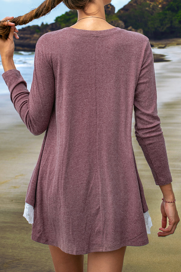 Cameo Long Sleeve Tunic with Lace