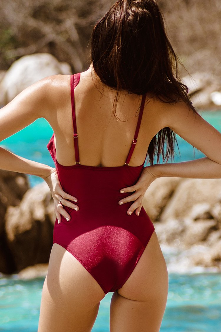 Wine Red High-Neck Ruffled One-Piece Swimsuit