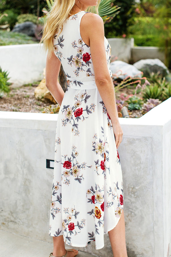 White Floral Sleeveless High-Low Wrap Dress
