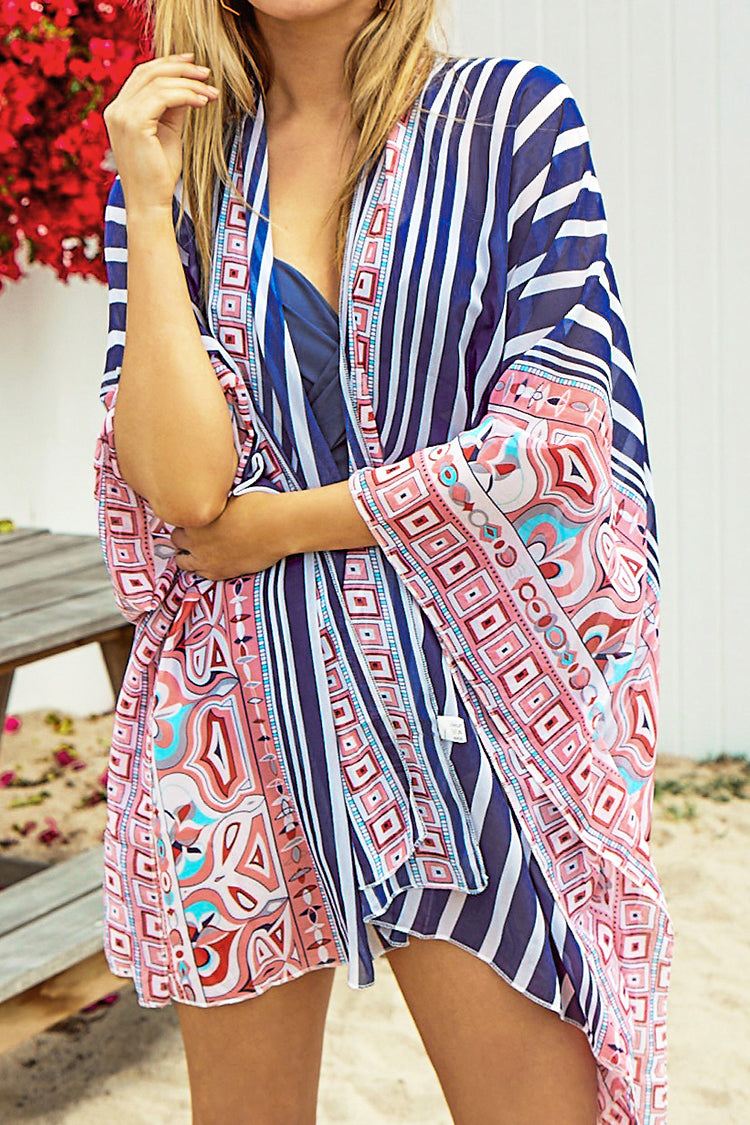 Blue and Red Geometric Stripe Pattern Cover Up