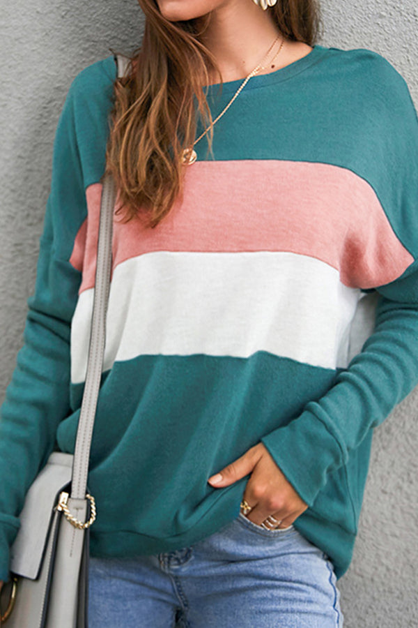 Black White and Khaki Colorblocked Sweater