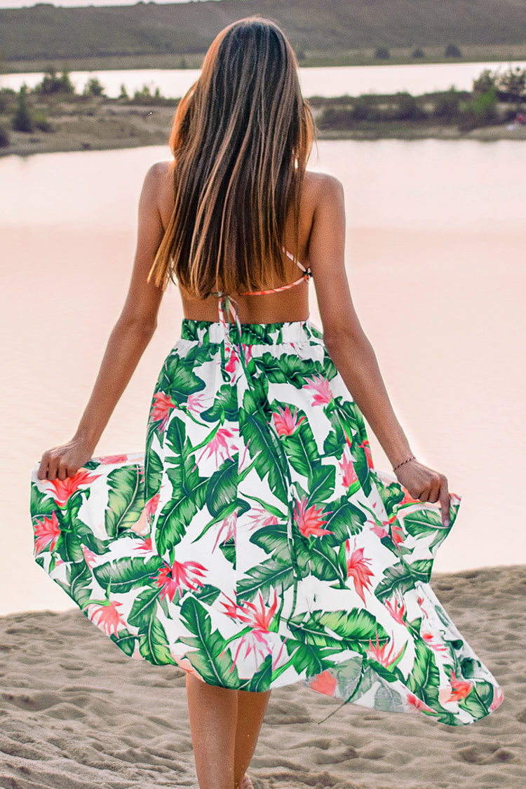 Bird of Paradise Backless Midi Dress