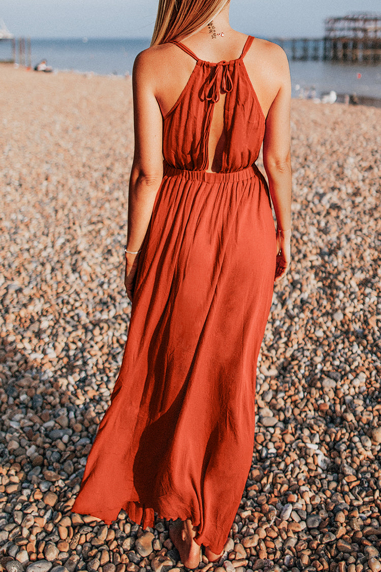 Red Orange V-Neck Maxi Dress