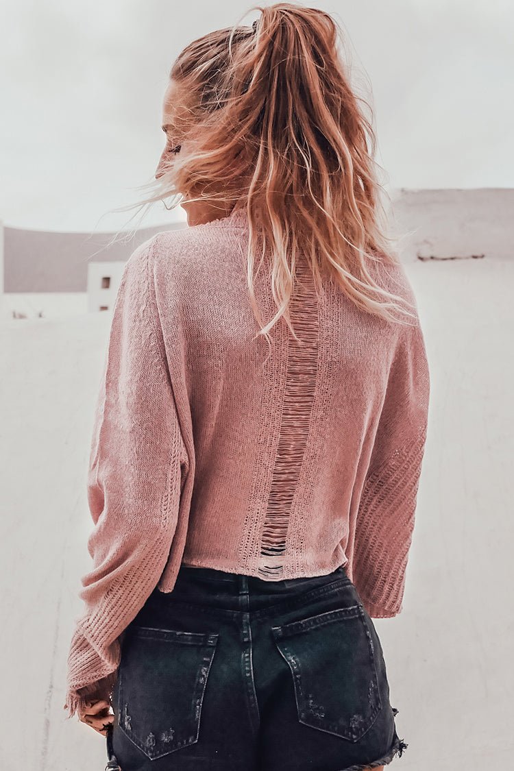Cropped Fringe Trim Sweater