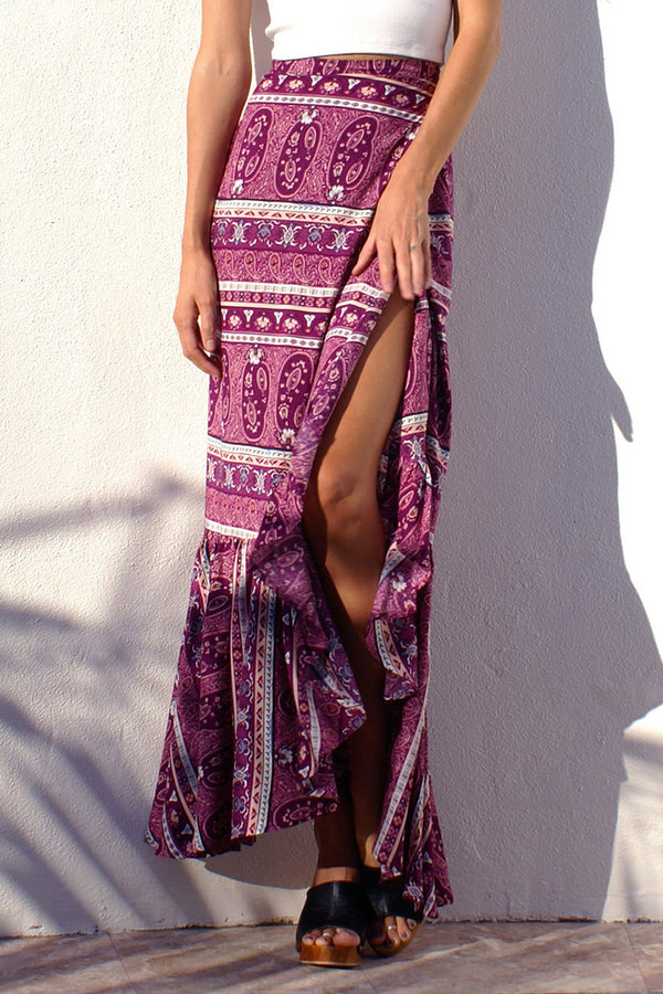 Purple Printed Ruffled Skirt