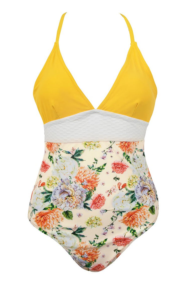 Yellow Pomegranate Flower Print One-Piece Swimsuit