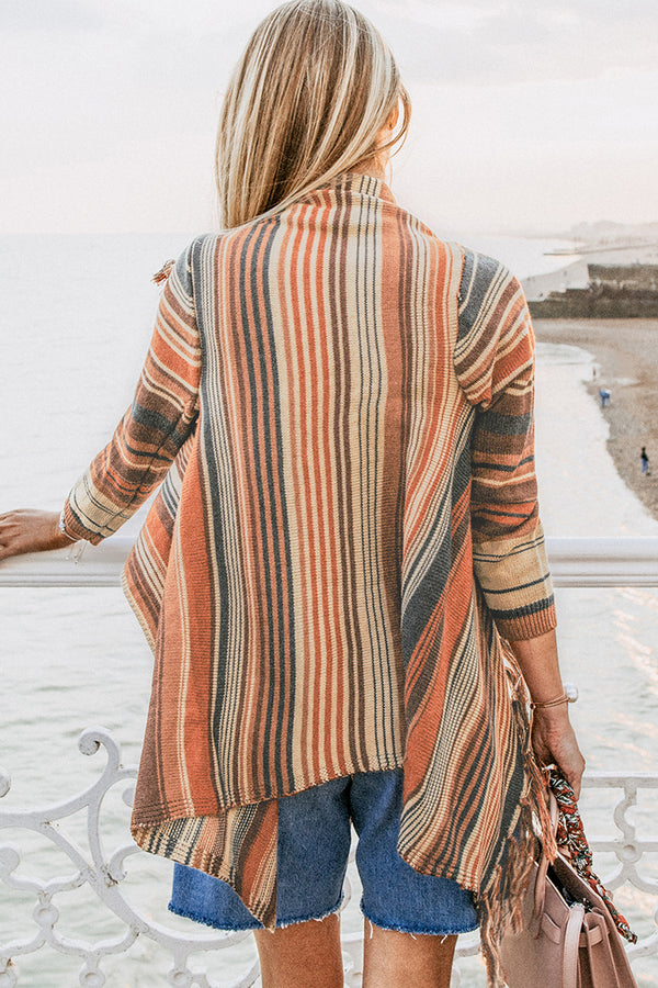 Striped Tassel Sweater