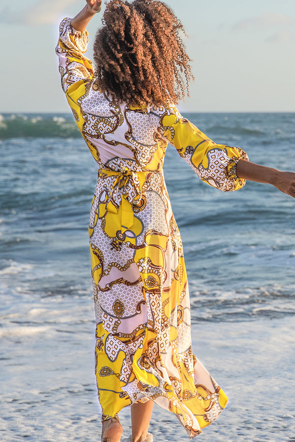 Chain Print Long Sleeve Wrap Dress