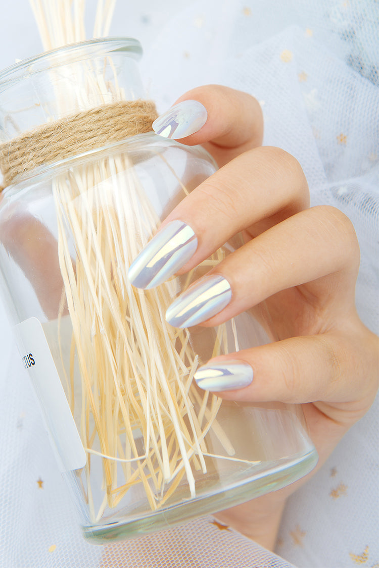 White Shiny False Nails