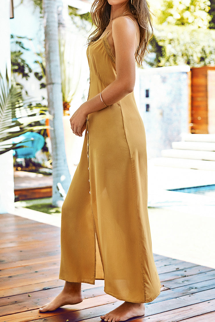 Mustard Yellow Buttoned Slip Dress