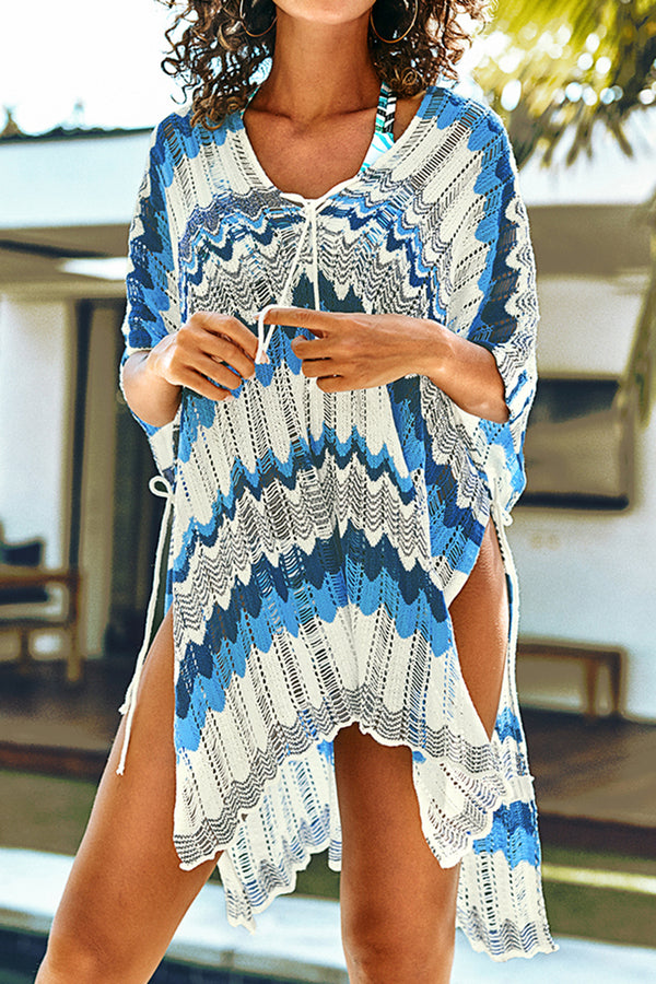 Blue Wave Pattern Lace Up Cover Up