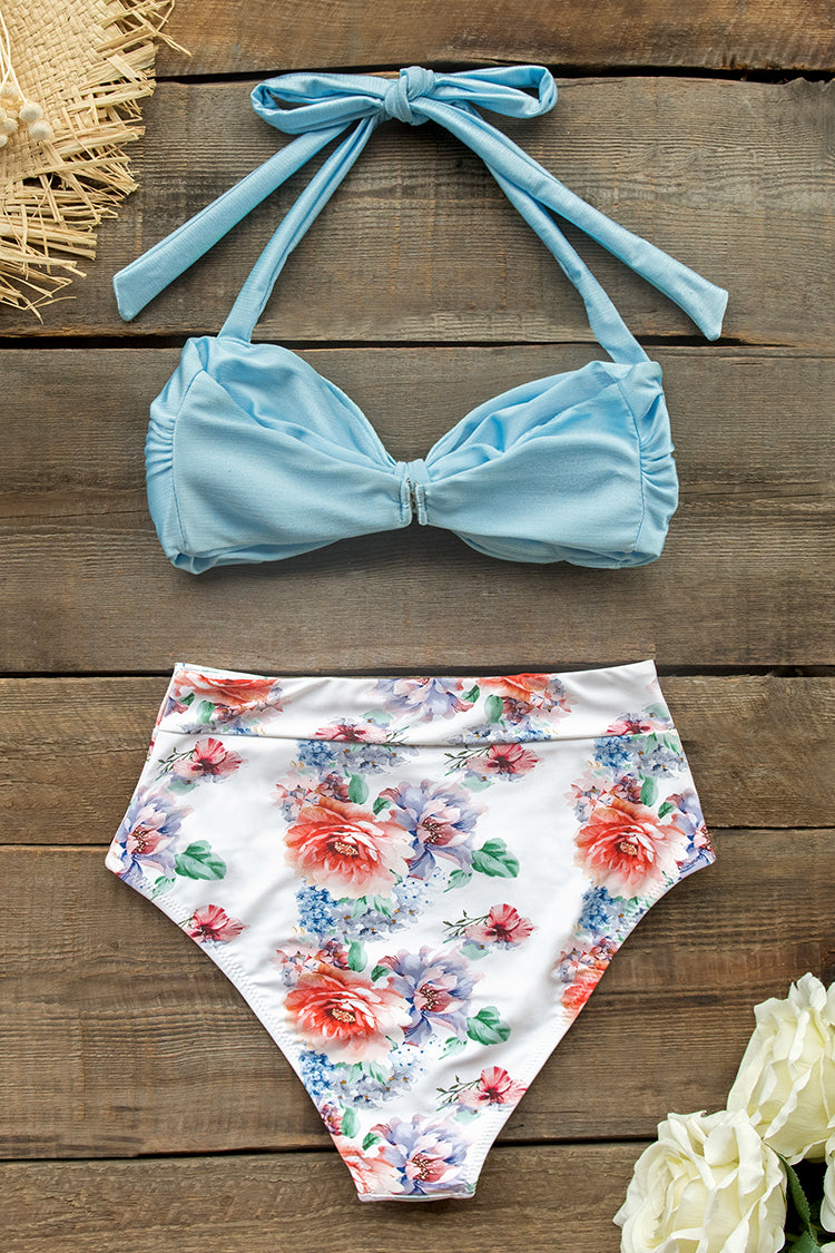 Baby Blue and Floral Halter High-Waist Bikini