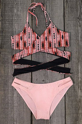 Cupshe One Last Night Cross Halter Bikini Set