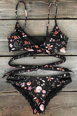 Cupshe My Mystique Floral Cross Bikini Set