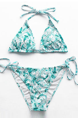 Cupshe Flowers In Ocean Halter Bikini Set