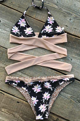 Cupshe Super Flower Lover Halter Bikini Set