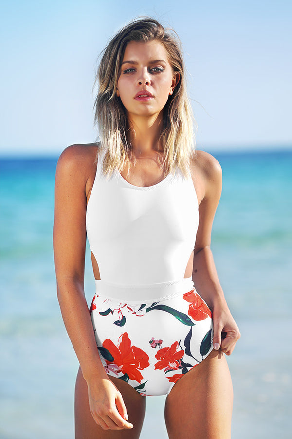 Lilies open Print One-piece Swimsuit
