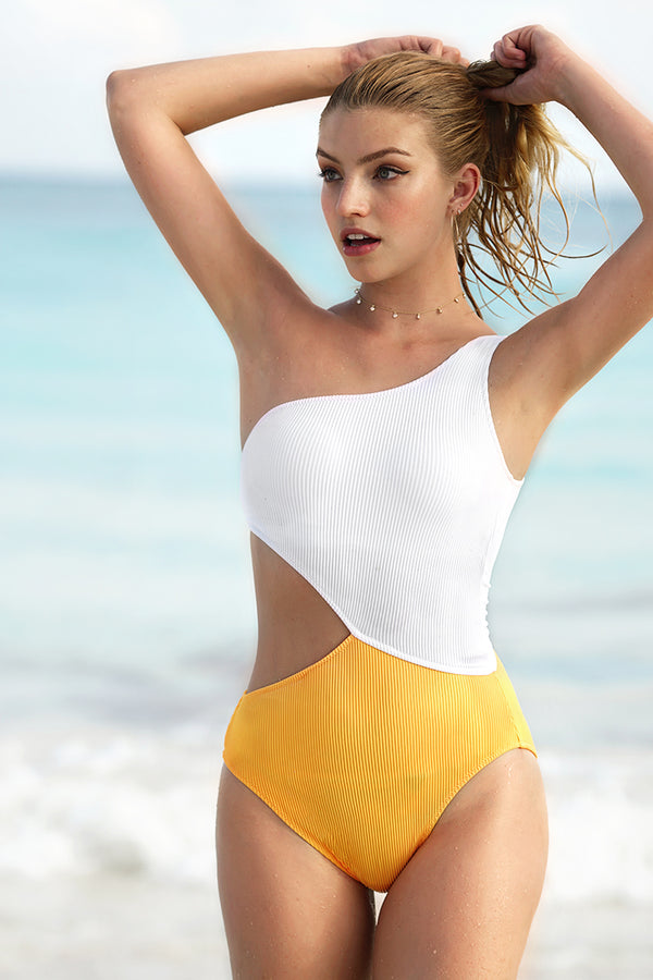 Candy Rain One Shoulder One-piece Swimsuit