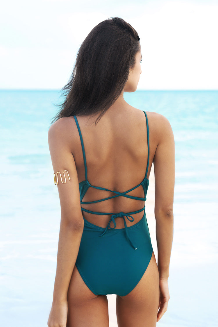 Watch The Clouds Solid One-piece Swimsuit