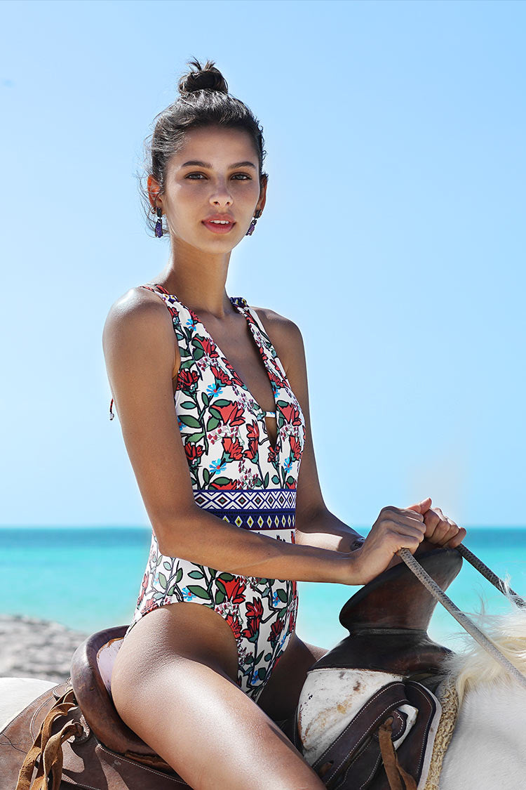 Spring Blossoms Print One-piece Swimsuit