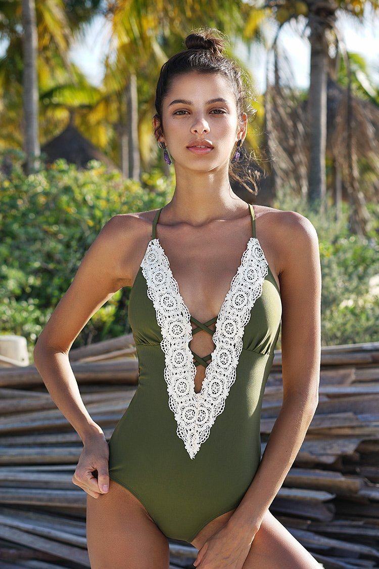 The lace one piece swimsuit is here to solve all your swimwear dilemmas! Product Code CYY992 Details Lace splicing With padding bra Plunging neckline Back hook closure Regular wash Fabric Chinlon Referencemodel try on SIZE M, height 5'8, weight 150 lbs, bust 36C SIZE(IN) US UNDERBUST WAIST HIP S 4/6 25.2 24.4 29.9 M 8/10 26.8 25.9 31.5 L 12/14 28.3 27.6 33.1 XL 16/18 29.9 29.1 34.7 XXL 20 31.5 30.7 36.2 size chartplease allow 0.4-0.8 differs due to manual measurement Swim Top Sizing Guide S M L XL XXL 32C 32D 34A 34B 34C 34D 36A 36B 36C 36D 38A 38B 38D 40B 40C 40D 40A 40B 40C 40D